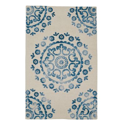 Suzani Wool Tufted Rug - Blue