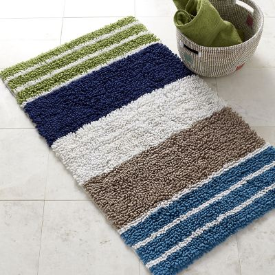 Chunky Loop Stripe Bath Rug - Ocean