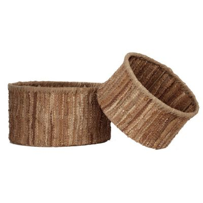 Leather Nesting Baskets, Set of 2