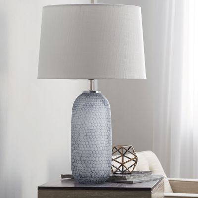 Pebble Textured Glass Table Lamp Collection - Oblong