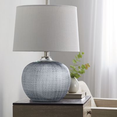Pebble Textured Glass Table Lamp Collection - Round