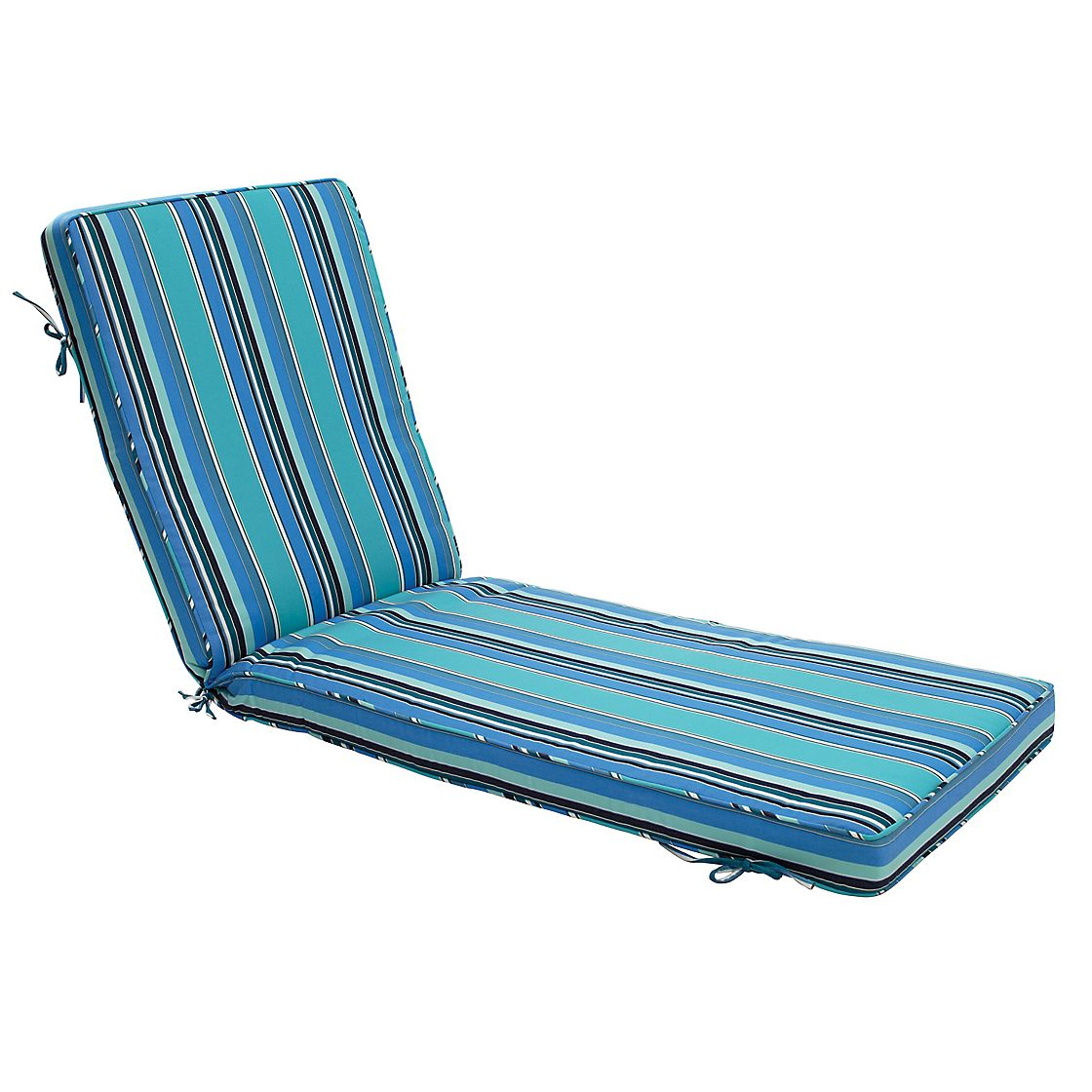 Rollover to zoom view fullscreen for Blue and white striped chaise lounge cushions