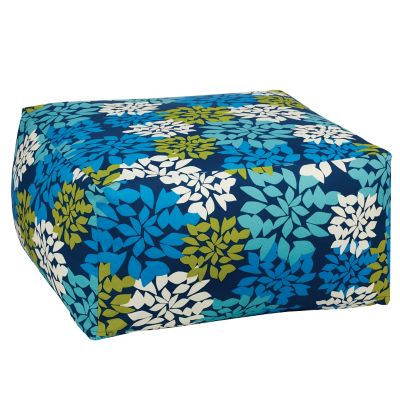 Outdoor Pouf Cover - Blue Floral