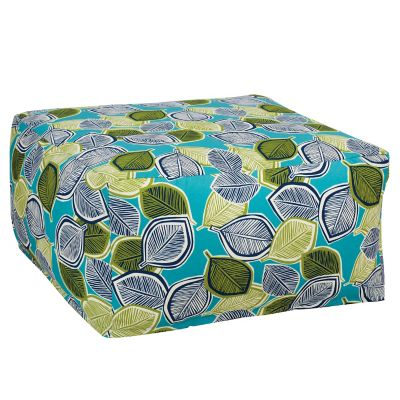 Outdoor Pouf Cover - Lagoon Leaf