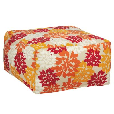 Outdoor Pouf Cover - Saffron Floral