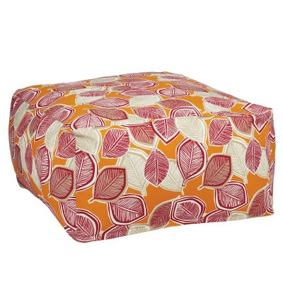 Outdoor Pouf Cover - Saffron Leaf