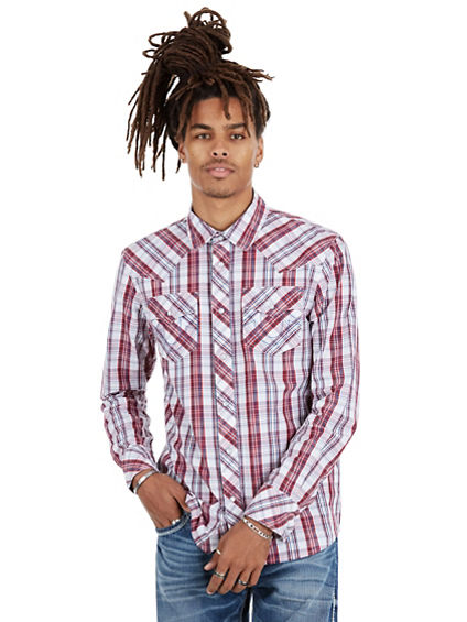 PLAID WESTERN HORSESHOE  MENS SHIRT
