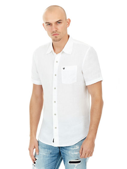 SHORT SLEEVED LINEN MENS WOVEN SHIRT