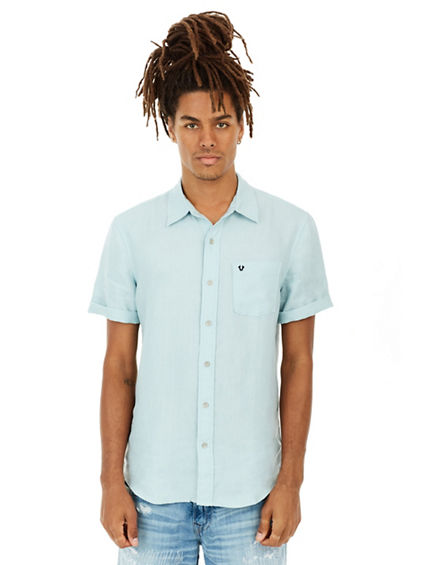 ROLL UP LINEN MENS SHIRT
