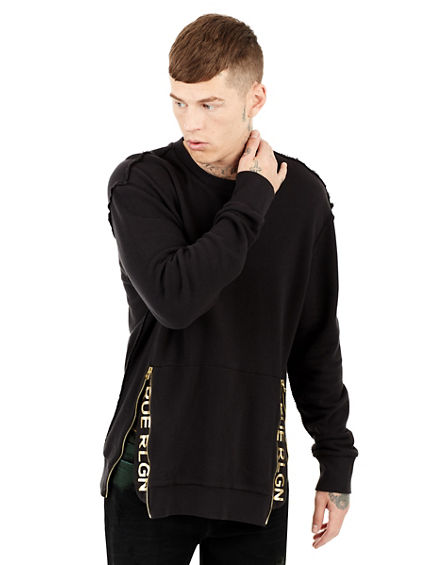 GOLD METALLIC ZIP POCKET MENS SWEATSHIRT