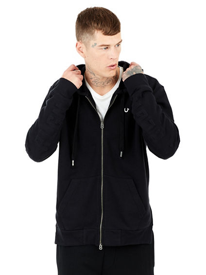 3D EMBOSSED ELONGATED MENS HOODIE