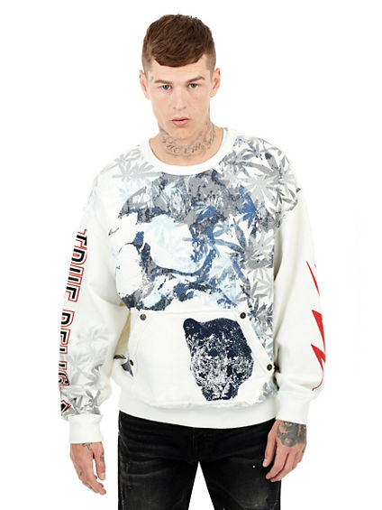 MENS HEMP PRINTED PULLOVER SWEATSHIRT