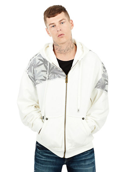 HEMP PRINT MENS MULTI GREY ZIP HOODIE