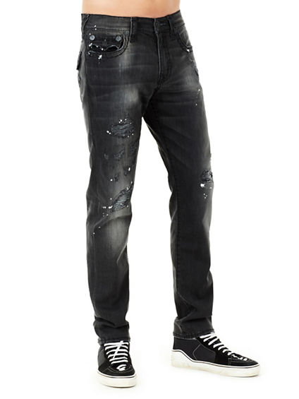 MENS DISTRESSED SUPER T GENO SLIM JEAN W/ FLAP