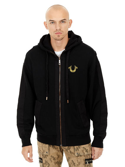 METALLIC CIRCUITZ HORSESHOE ZIP MENS HOODIE