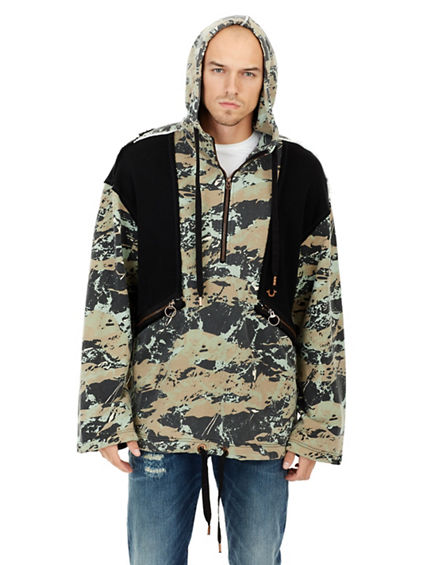 CAMO BLOCKED KNIT ANORAK