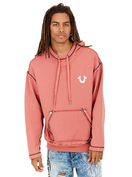 RAW EDGE PULLOVER MENS HOODIE