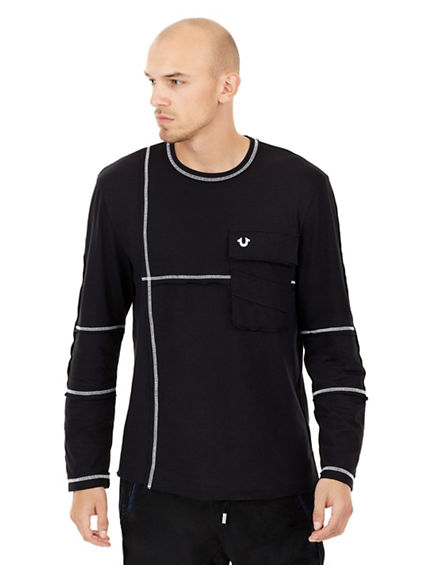 PANELED LONG SLEEVE MENS TEE
