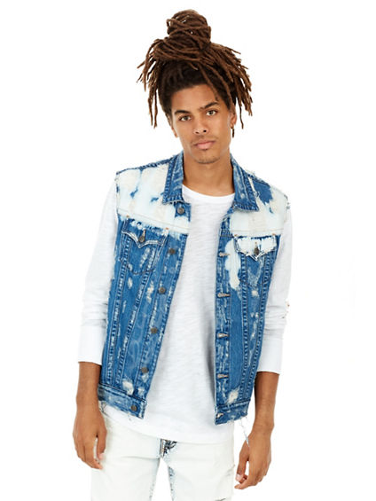 MENS BLEACHED DANNY RENEGADE DENIM VEST
