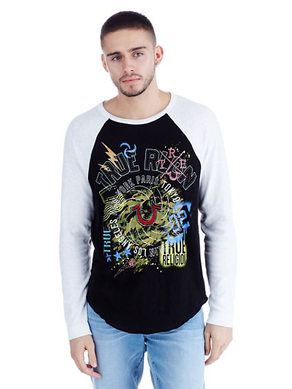 LONG SLEEVE EMBROIDERED RAGLAN MENS TEE