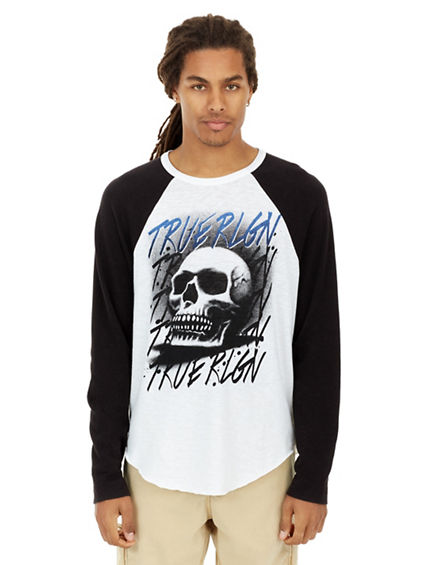 AIRBRUSHED SKULL RAGLAN MENS TEE