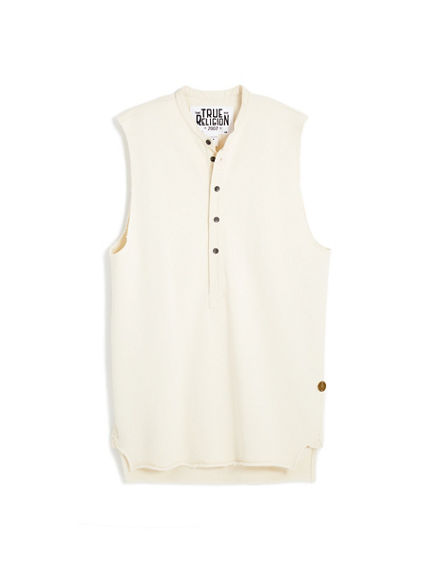 OVERSIZED TERRY SLEEVELESS HENLEY