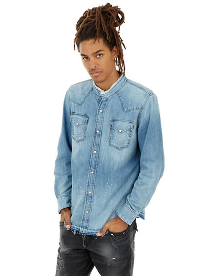 MENS RAW EDGE WESTERN DENIM SHIRT
