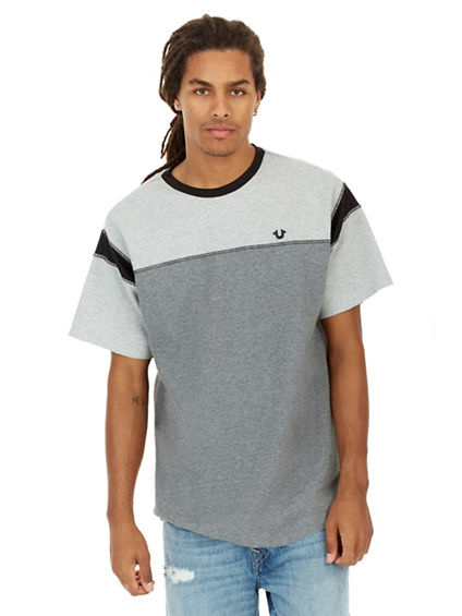 HEATHER BLOCKED FOOTBALL MENS TEE