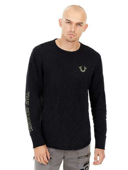 MENS DISTORTED GRAPHIC LONG SLEEVE SHIRT