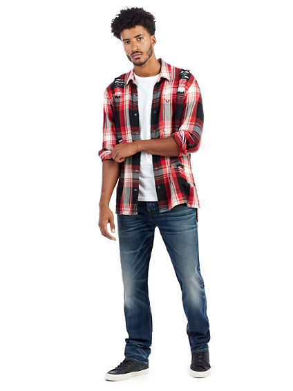 DISTRESSED STEP-HEM PLAID MENS WOVEN