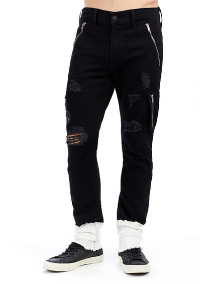 MENS BLEACH CUFF STRETCH DENIM JOGGER PANT