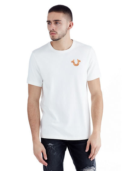 MENS METALLIC PUFF PRINT LOGO TEE
