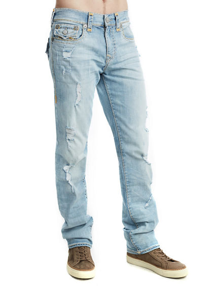 MENS DISTRESSED SUPER T RICKY STRAIGHT JEAN W/ FLAP