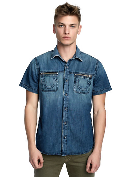 MENS CLASSIC DENIM BUTTON UP SHIRT