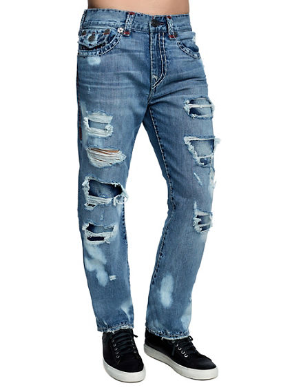 MENS DESTROYED SUPER T RICKY STRAIGHT JEAN W/ FLAP