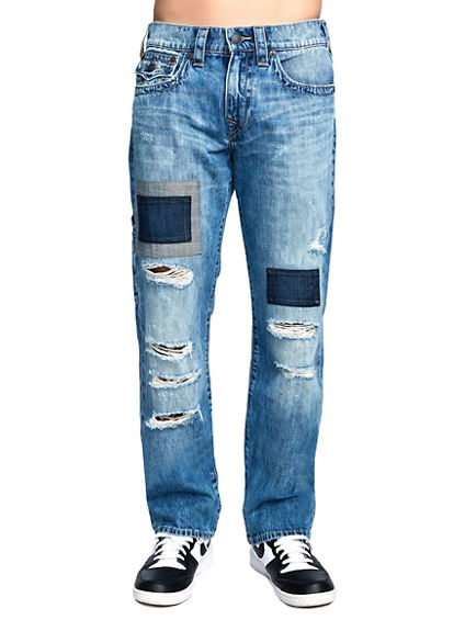 MENS DESTROYED PATCH RICKY STRAIGHT JEAN W/ FLAP