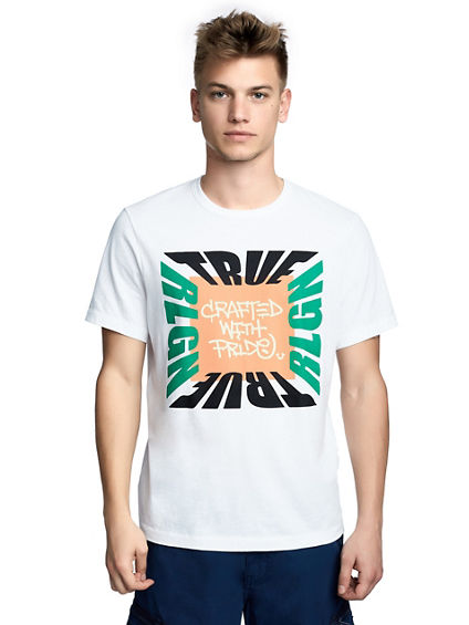 MENS COLOR BLOCK BRAND GRAPHIC TEE