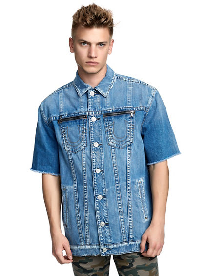MENS ELONGATED CUT-OFF TURNER DENIM JACKET
