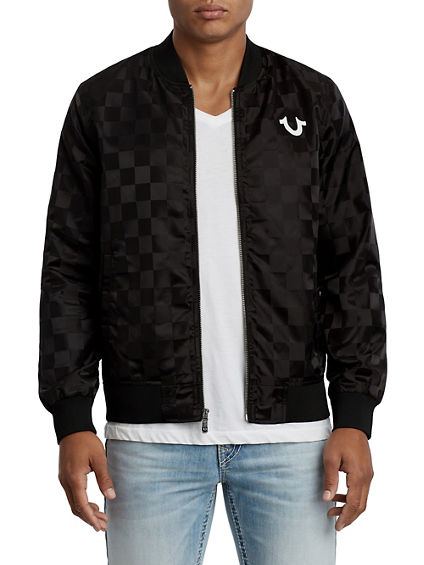 CHECKERED BUDDHA BRAND NYLON JACKET