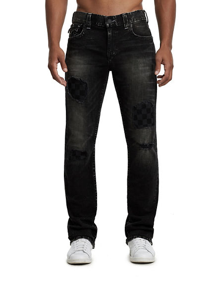 STRAIGHT FIT CHECKERED PATCH JEAN