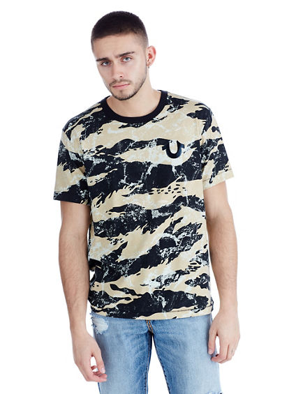 MENS GEO CAMO BUDDHA GRAPHIC TEE