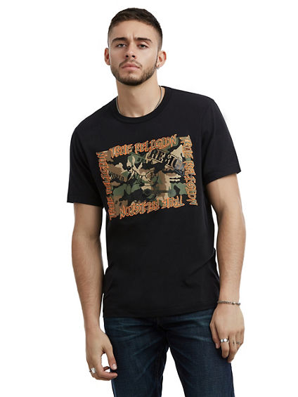 MENS CAMO BUDDHA GRAPHIC TEE