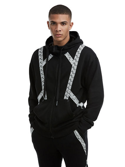 MENS QT STITCH SPORT TAPE ZIP UP HOODIE