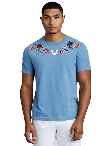 MENS WASHED FLORAL TEE