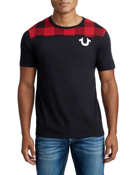 MENS PLAID VARSITY GRAPHIC TEE