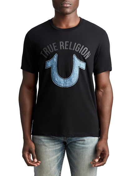 MENS DENIM APPLIQUE LOGO TEE