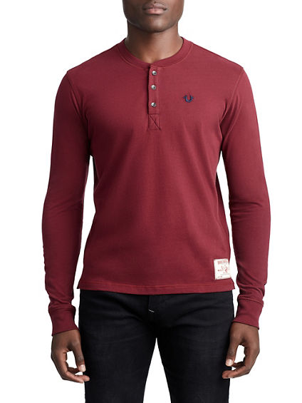 MENS CLASSIC EMBROIDERED HENLEY