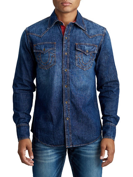 MENS CONTRAST STITCH WESTERN DENIM SHIRT