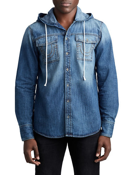 MENS BUTTON UP DENIM SHIRT W/ HOOD