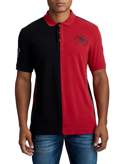 MENS SPLIT VARSITY POLO SHIRT